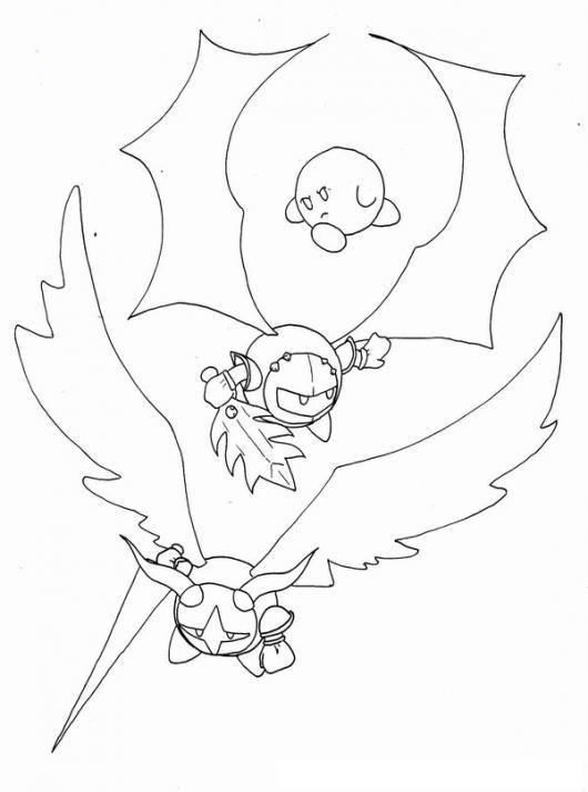 Dibujo De Kirbis Adventures Para Pintar Y Colorear A Kirby Volando