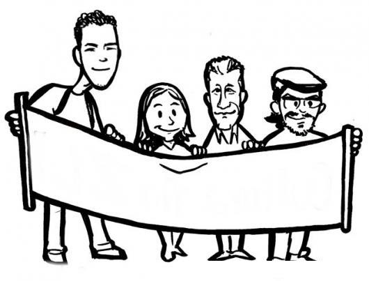 Dibujo De Personas Protestando Con Un Cartel Para Pintar Y