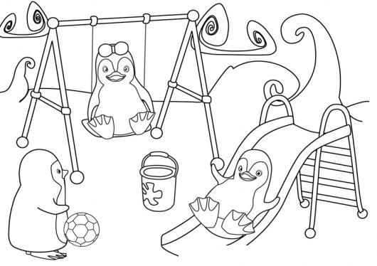 Juegos Para Ninos Dibujo De Pinguinos Jugando En El Parque En Los