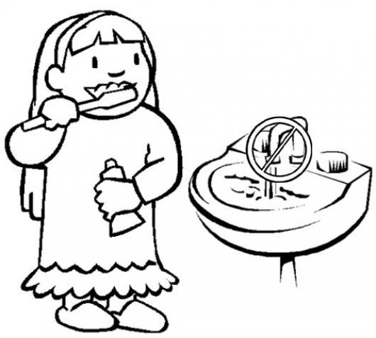 Cuidemos El Agua Dibujo De Una Nina Lavandose Lo Dientes Pero