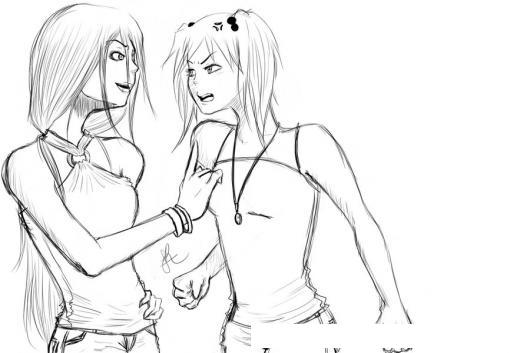 Amigas Peleando Dibujo De Dos Chicas Peleando Y Discutiendo Para