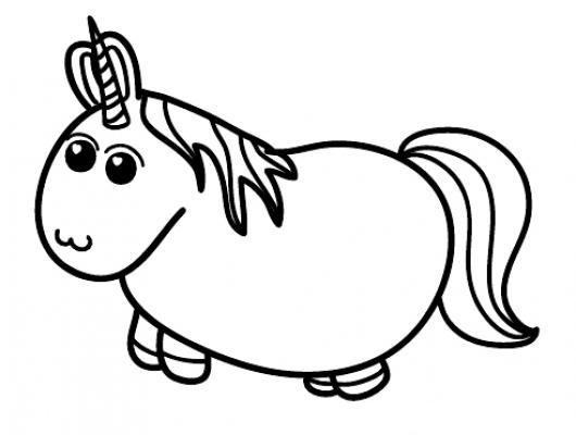 unicornio obeso para pintar y colorear dibujo de pony