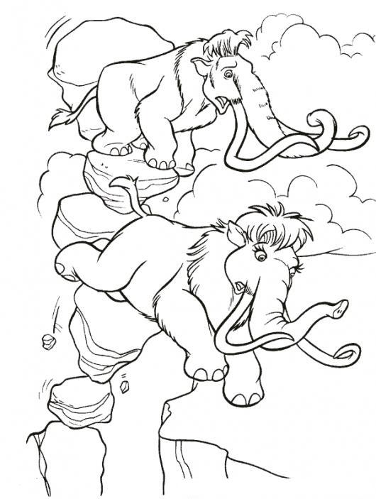 dibujo de elefantes de la era del hielo para pintar y colorear