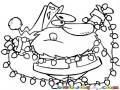 Luces De Navidad Dibujo De Santa Claus Con Lucecitas De Navidad Para Pintar Y Colorear