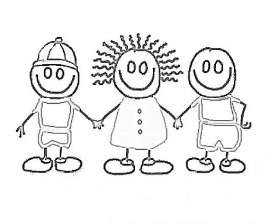 Dibujo De 3 Ninos Amigos Tomados De Las Manos Para Pintar ...