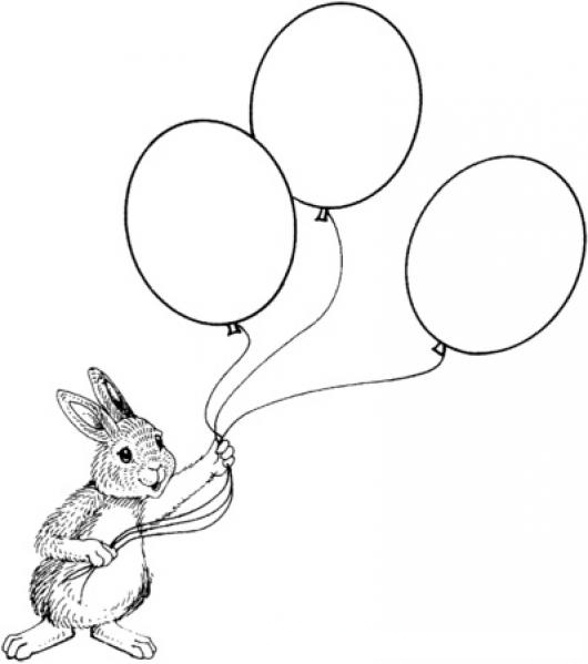 Dibujo De Conejo Con Globos Para Pintar Y Colorear  COLOREAR