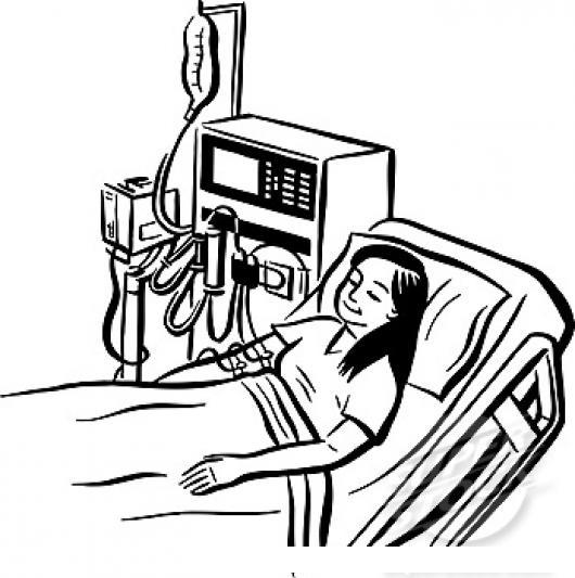 Dibujo De Mujer En Cama De Hospital En Sala De Intensivos