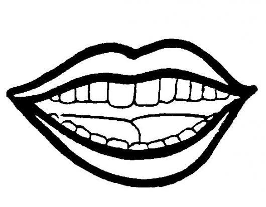 Dibujo De Boca Con Dientes Para Pintar Y Colorear Una Sonrisa De