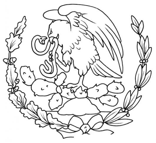 Escudo Nacional De Mexico Para Pintar Y Colorear Dibujo Del Aguila