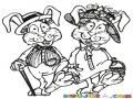 Esposos Conejos Para Pintar Y Colorear A Don Conejo Y Dona Conejo