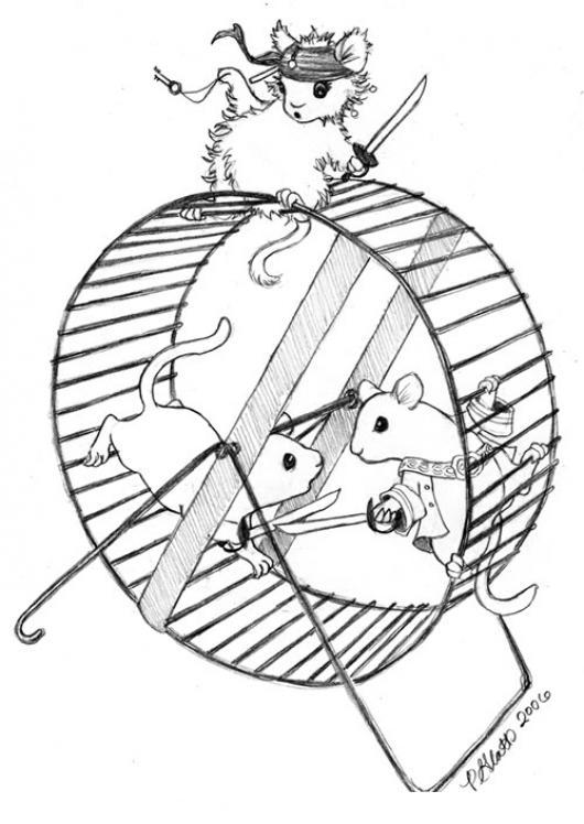 Dibujo De Hamsters En Una Rueda Para Pintar Y Colorear   COLOREAR ...