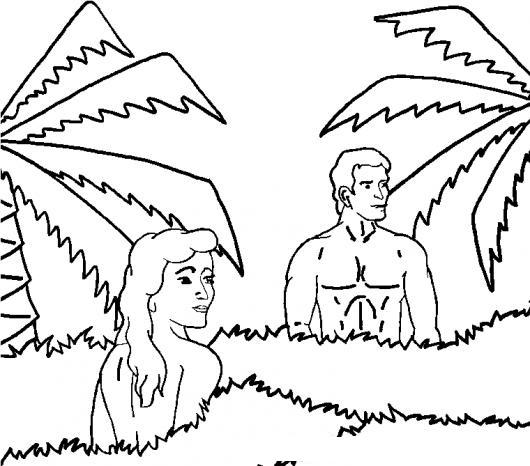 Adan Y Eva En El Jardin Del Eden Para Pintar Y Colorear | COLOREAR ...