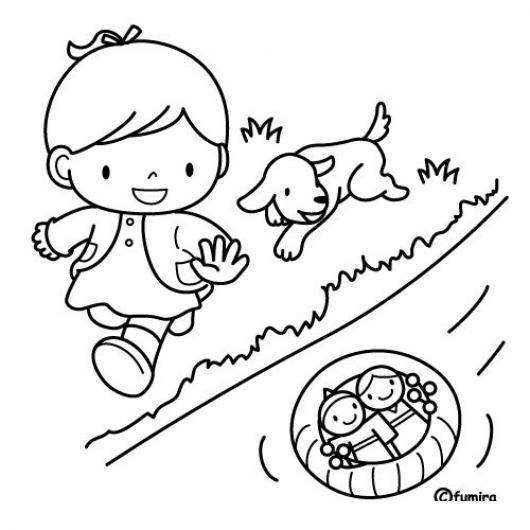 Dibujo De Nina Jugando Munecas En Un Rio Con Su Perrito Para Pintar