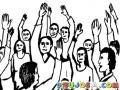 Dibujo De Gente Levantando La Mano Para Pintar Y Colorear