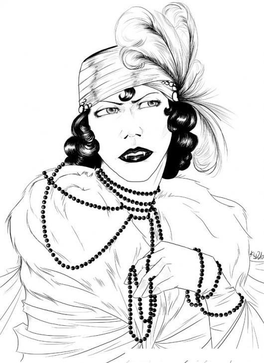 Dibujo De Mujer Vampiresa Para Pintar Y Colorear Gitana Con ...