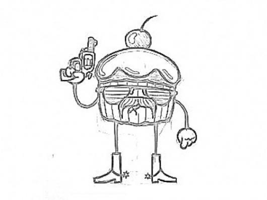 Dibujo De Pastelito Asesino Para Pintar Y Colorear