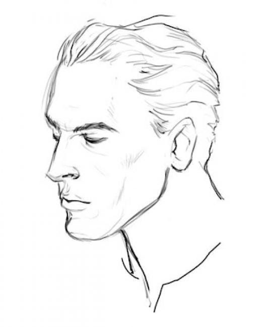 Dibujo De Hombre Peinado Con Gelatina En El Pelo Para Pintar