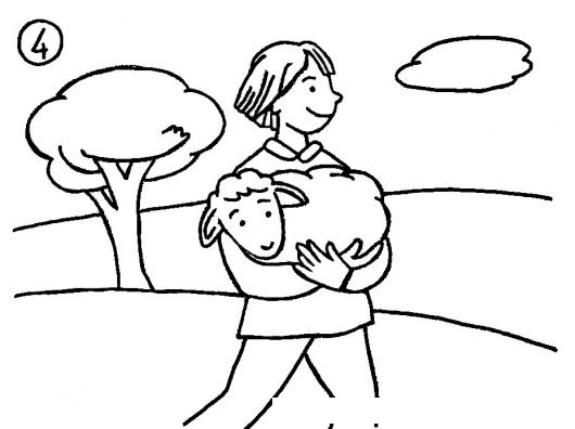 Dibujo De Pastor Cargando Una Oveja Para Pintar Y Colorear