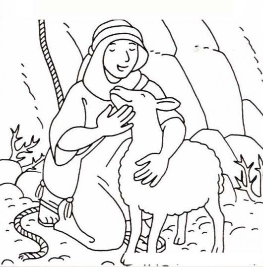 Dibujo De La Oveja Perdida Con Su Pastor Para Pintar Y Colorear
