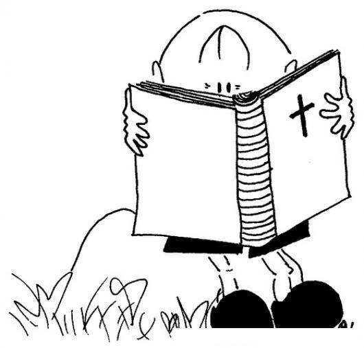 Dibujo De Nino Leyendo La Biblia Para Pintar Y Colorear Bebe