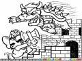 Dibujo De Mario Bros Peleando Con El Dragon Bowser En El Castillo Para Pintar Y Colorear