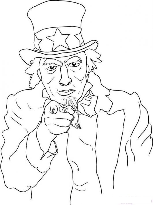 Dibujo Del Tio Sam Para Pintar Y Colorea A Uncle Sam De Los Usa ...