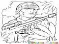 Soldado En La Maleza Para Pintar Y Colorear