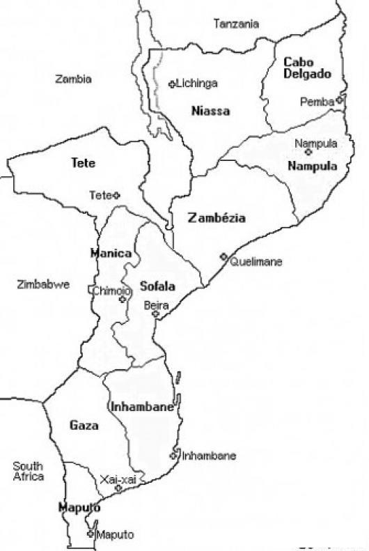 Mozambique Dibujo Del Mapa De Mosambique Africa Para Pintar Y ...