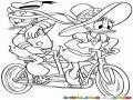 Dibujo Para Colorear A Daisy Con El Pato Donald En Una Bicicleta Para Dos Personas