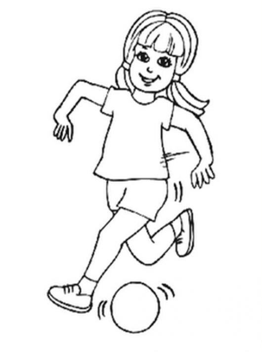 Futbol Femenino Dibujo De Una Chica Jugando Pelota Para Pintar Y