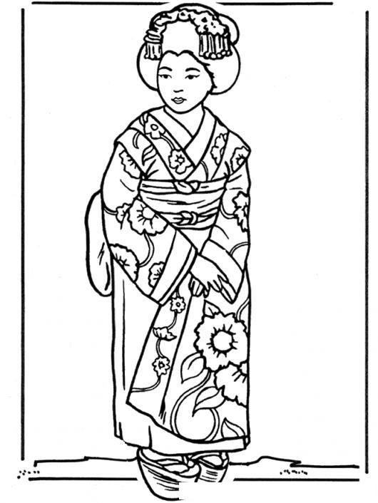 Dibujo De Geisha Japonesa Con Kimono Para Pintar Y Colorear