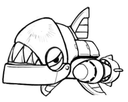 Dibujo De Tiburon Robot Para Pintar Y Colorear  COLOREAR DIBUJOS