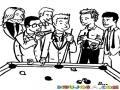 Juego De Billar Dibujo De Amigos Jugando Billar Para Pintar Y Colorerar