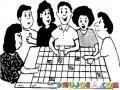 Dibujo De Empleados Planificando Actividades En Un Calendario De Pared Para Colorear