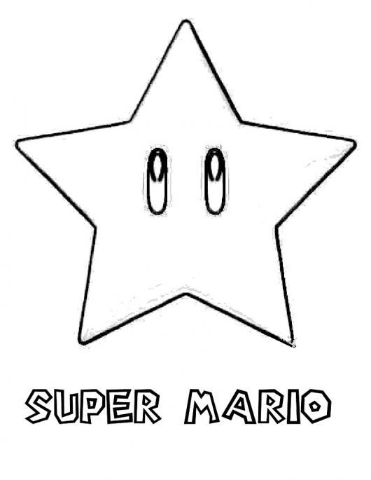 dibujo para colorear a la estrella de super mario bros