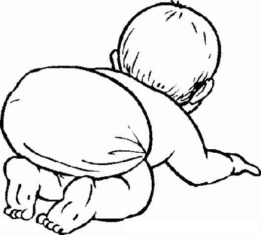 Dibujo De Bebe En Panales Gateando Para Pintar Y Colorear