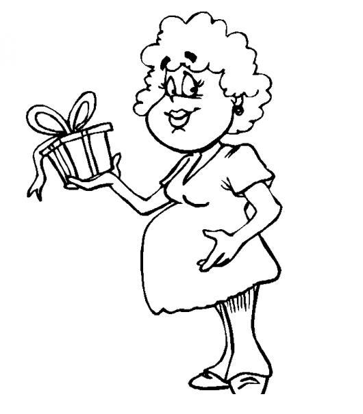 Dibujo De Mujer Embarazada Con Un Regalito En Su Baby Shower Para ...