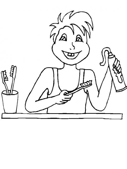 Dibujo De Nino Lavandose Los Dientes Con Pasta De Colgate Para ...