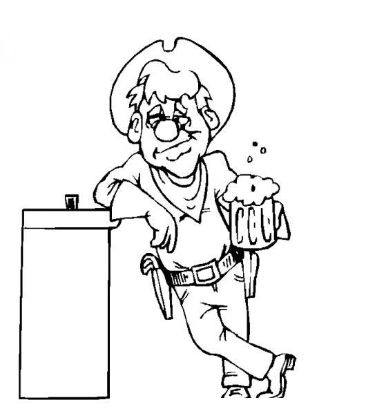 Dibujo de vaquero tomando cerveza en la barra de un bar for Barra bar madera dibujo