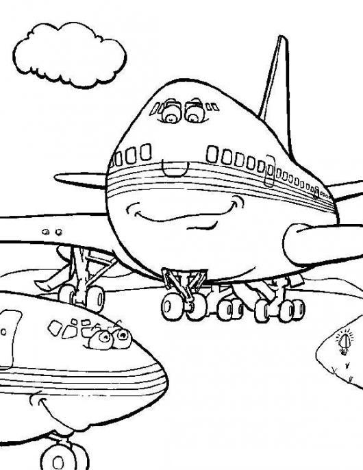 Dibujo De Aviones Comerciales En Un Aeropuerto Para Pintar Y