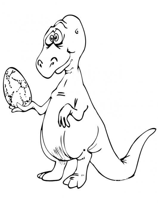 Dinosaurio Con Un Huevo Para Pintar Y Colorear Dinosauria Futura ...
