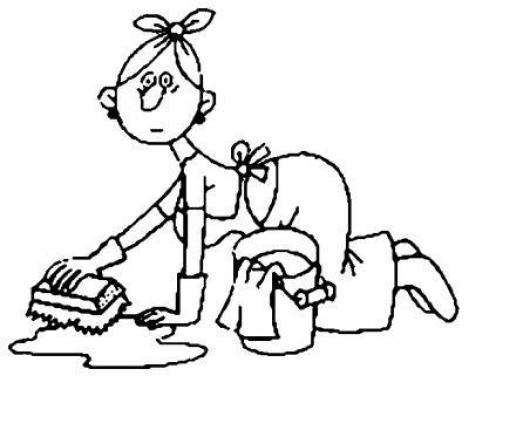 Dibujo de mujer lavand el piso para pintar y colorear - Pintar el piso ...