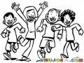 Dibujo De Ninos Corriendo Felices Para Pintar Y Colorear
