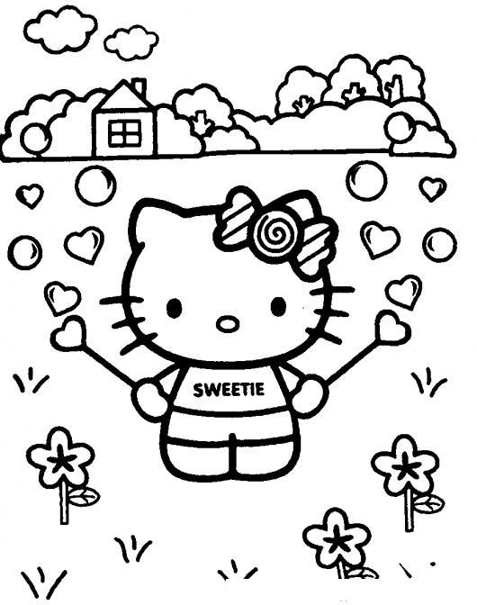 Dibujo De Hello Kitty Haciendo Burbujas De Corazones Para Pintar Y ...