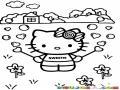 Dibujo De Hello Kitty Haciendo Burbujas De Corazones Para Pintar Y Colorear