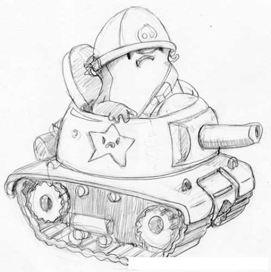 Dibujo De Pollito Militar Con Tanque De Guerra Para Pintar Y ...
