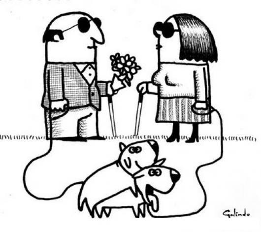 Dibujo De Ciego Y Ciega Con Sus Perros Enamorados Para Pintar Y Colorear