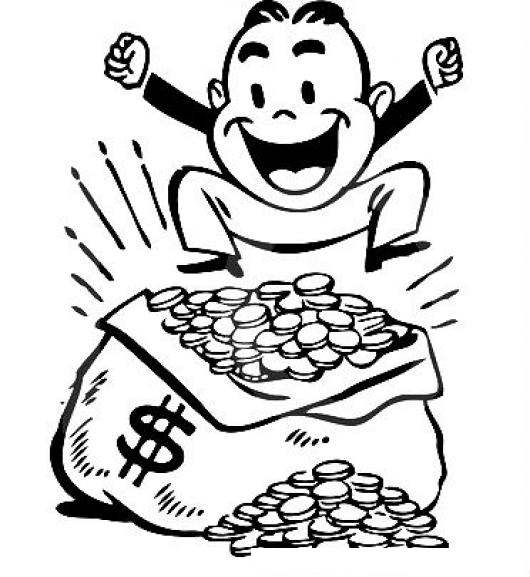 Dinero Dibujo De Hombre Rico Y Millonario Saltando Sobre Un Costal