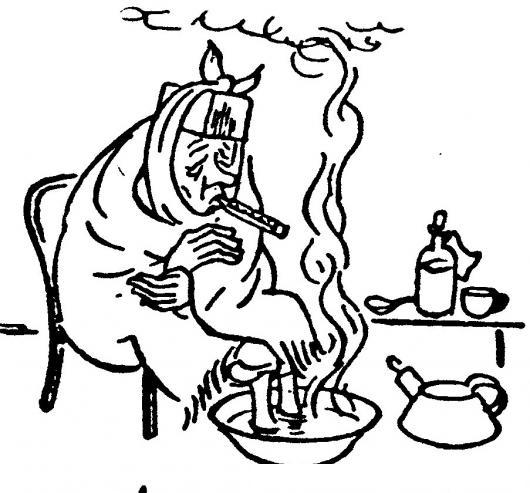 Dibujo De Abuelita Enferma Con Gripe Para Pintar Y Colorear ...