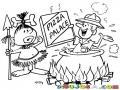 Dibujo De Canibal Cocinando A Un Hombre Que Ofrece Pizza Para Pintar Y Colorear